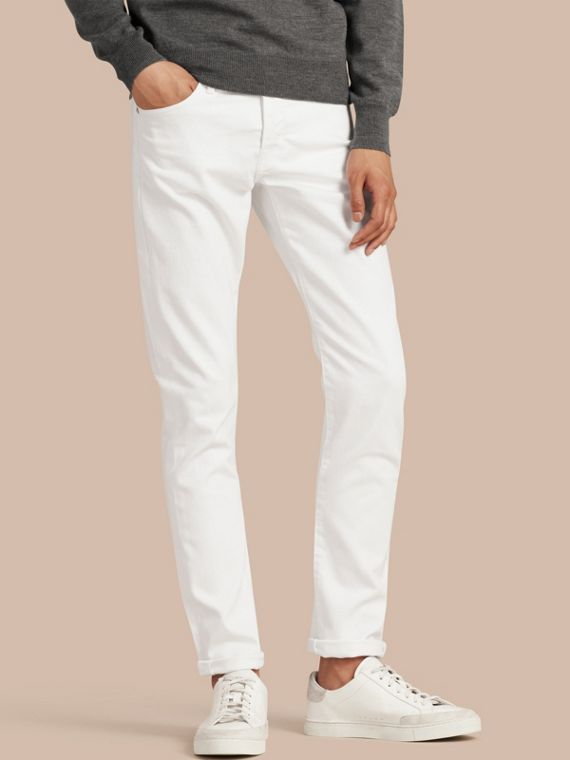 Straight Fit Stretch Japanese Denim Jeans in White
