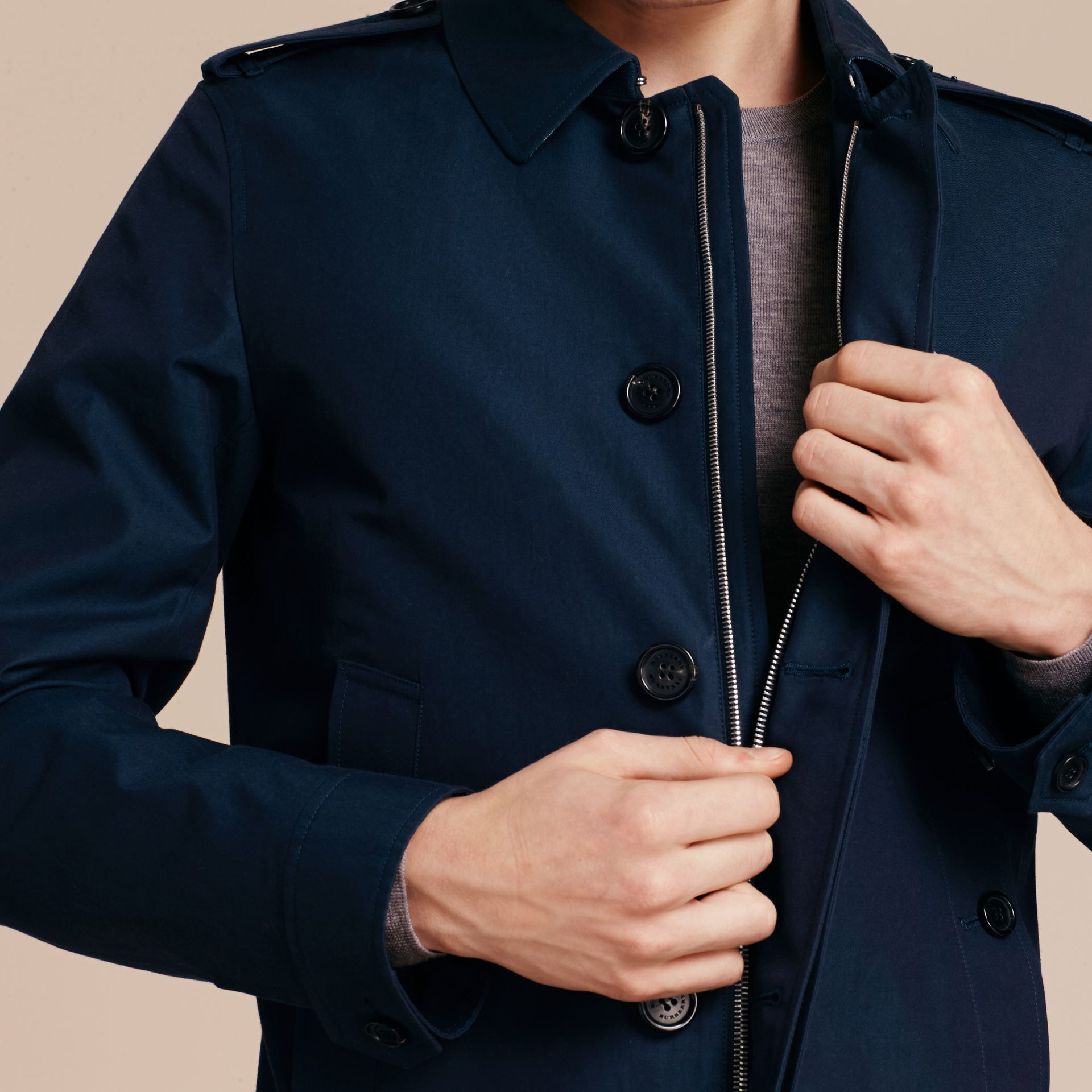 Flint blue Cotton Gabardine Jacket Flint Blue - gallery image 6