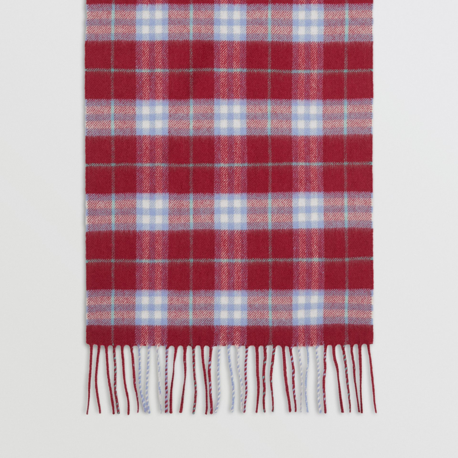 The Classic Vintage Check Cashmere Scarf in Damson Pink | Burberry United Kingdom - gallery image 4