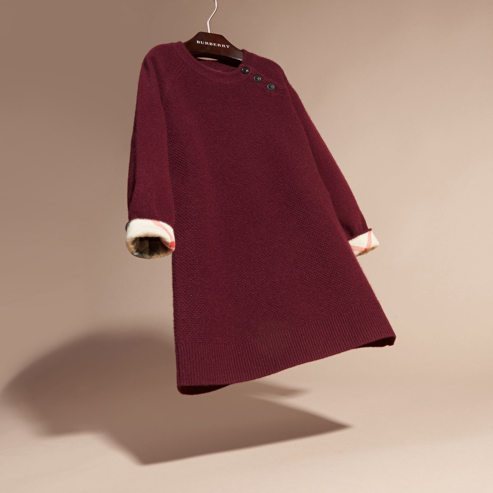 Check Detail Cashmere Dress in Mahogany Red - gallery image 3