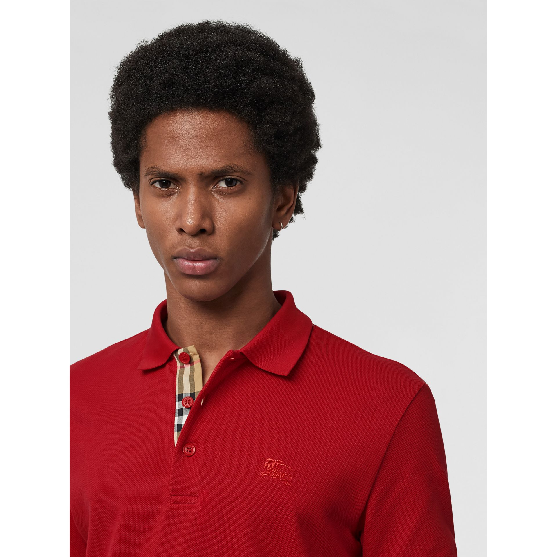 Check Placket Cotton Polo Shirt in Military Red - Men | Burberry Australia - gallery image 0