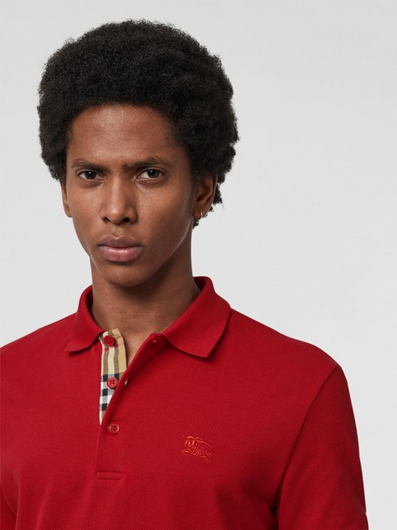 Check Placket Cotton Polo Shirt in Military Red