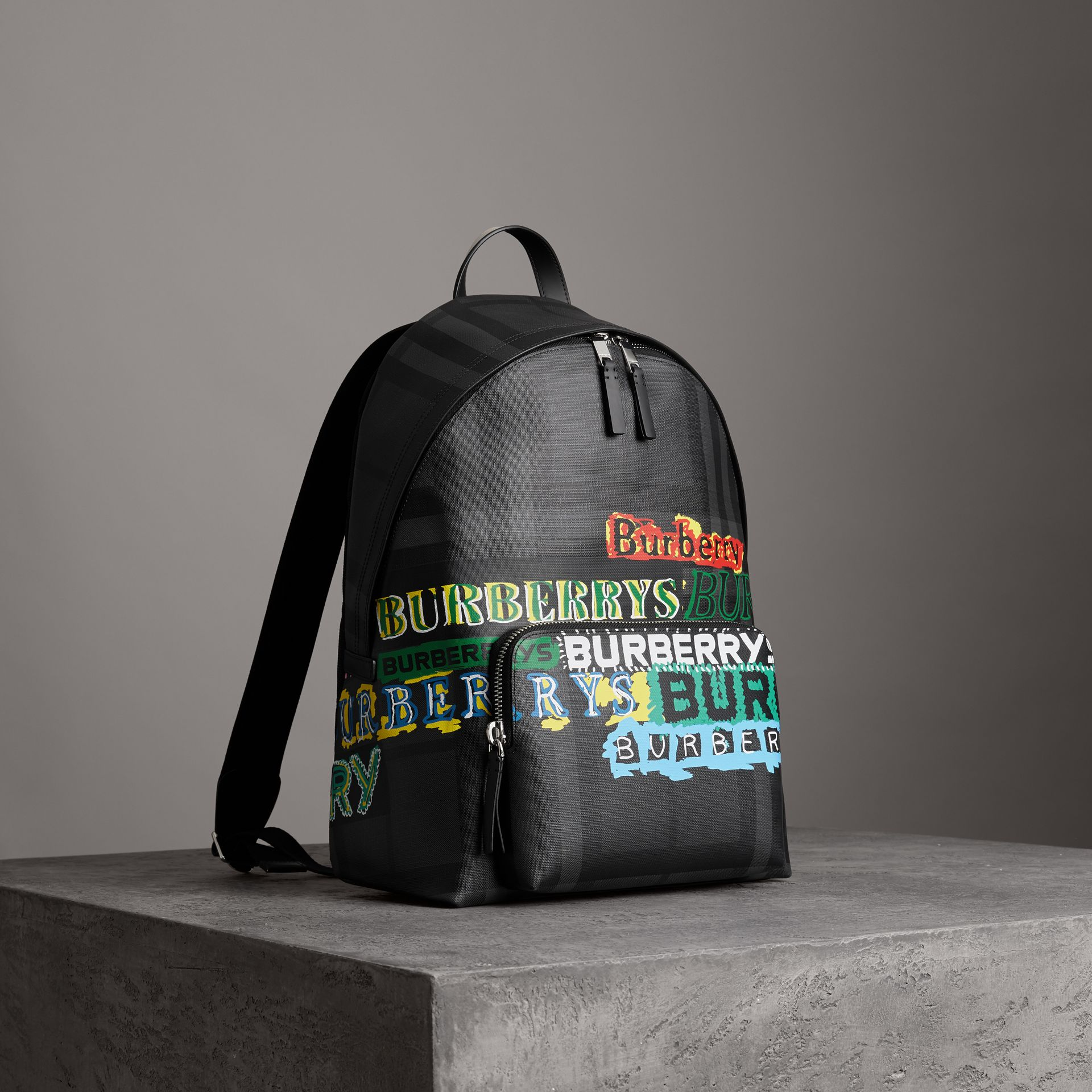 Logo Print London Check Backpack in Charcoal - Men | Burberry - gallery image 0
