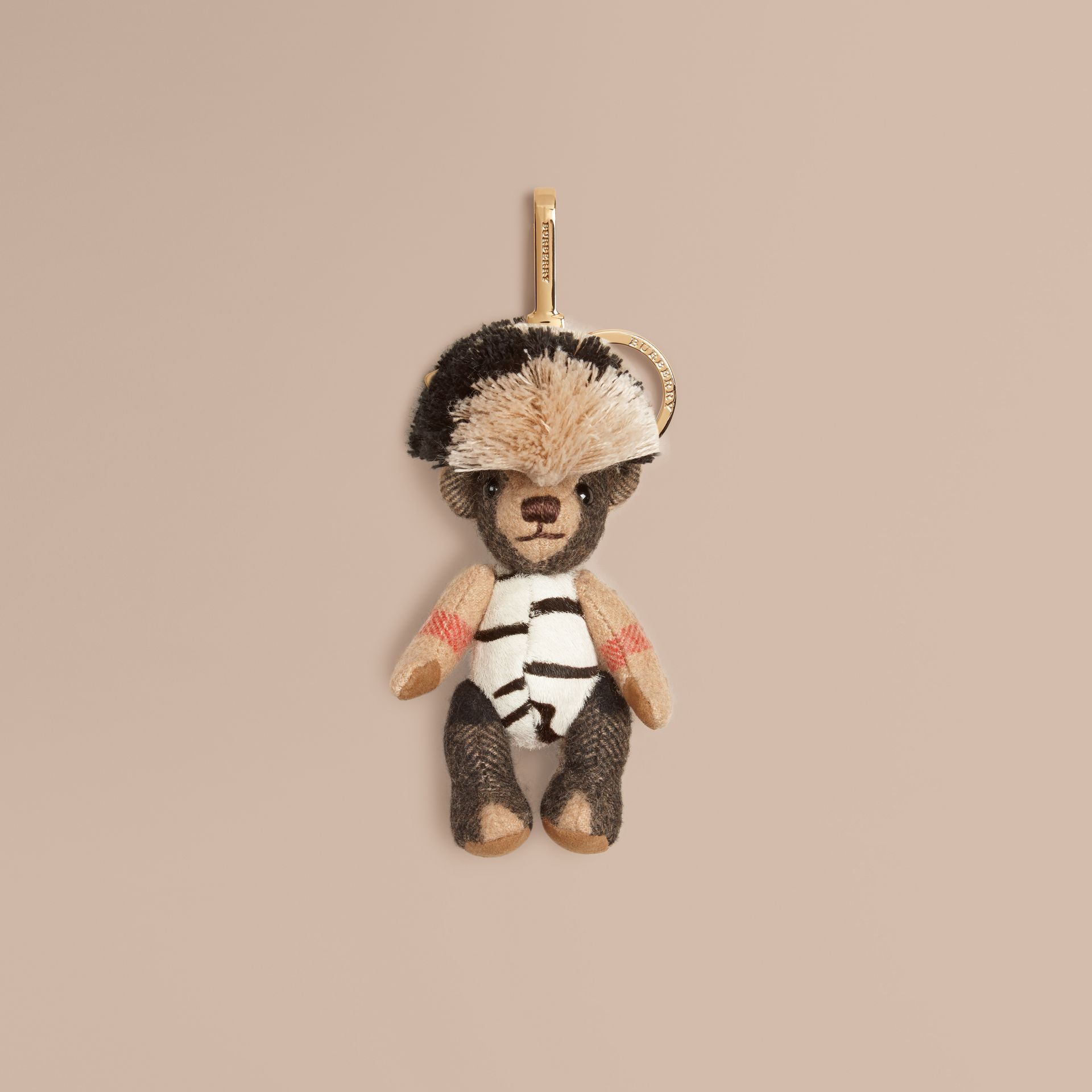 Camel/natural Thomas Bear Charm in Cashmere and Calfskin - gallery image 1