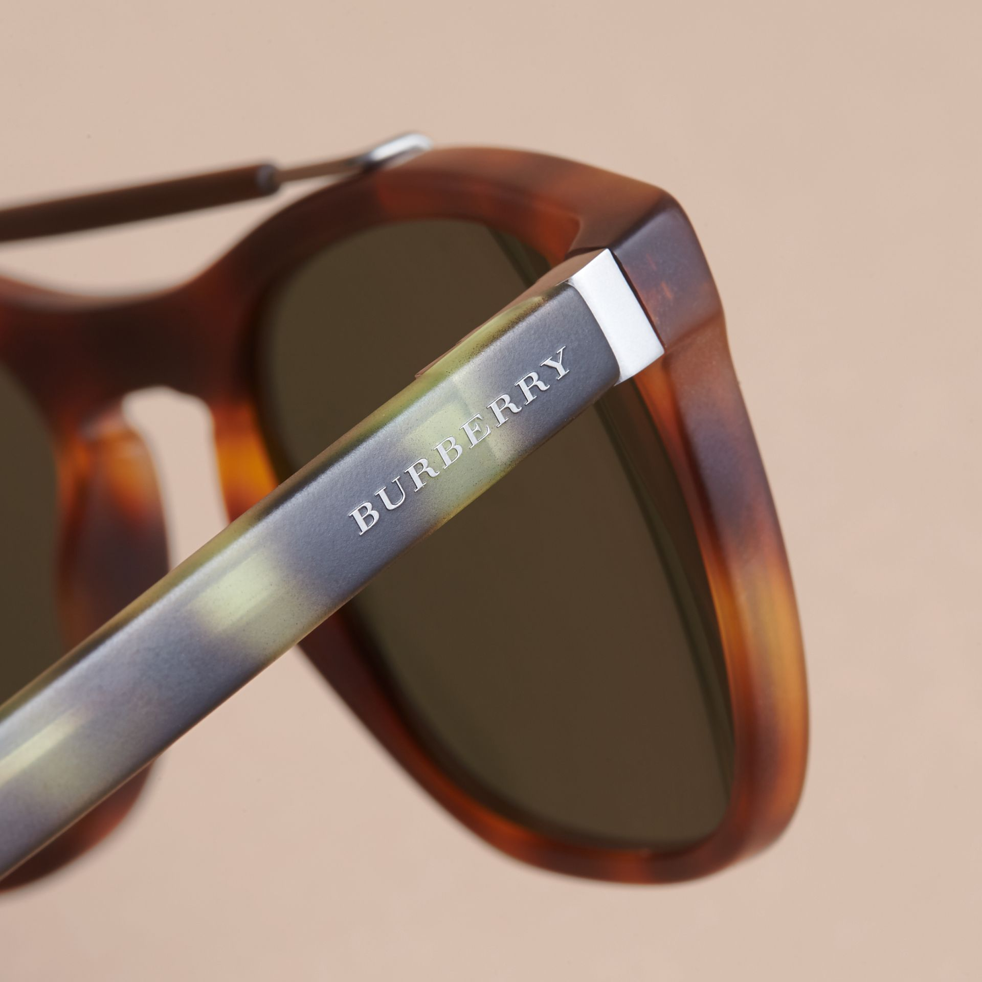 Top Bar Square Frame Sunglasses in Brown - Men | Burberry Australia - gallery image 1
