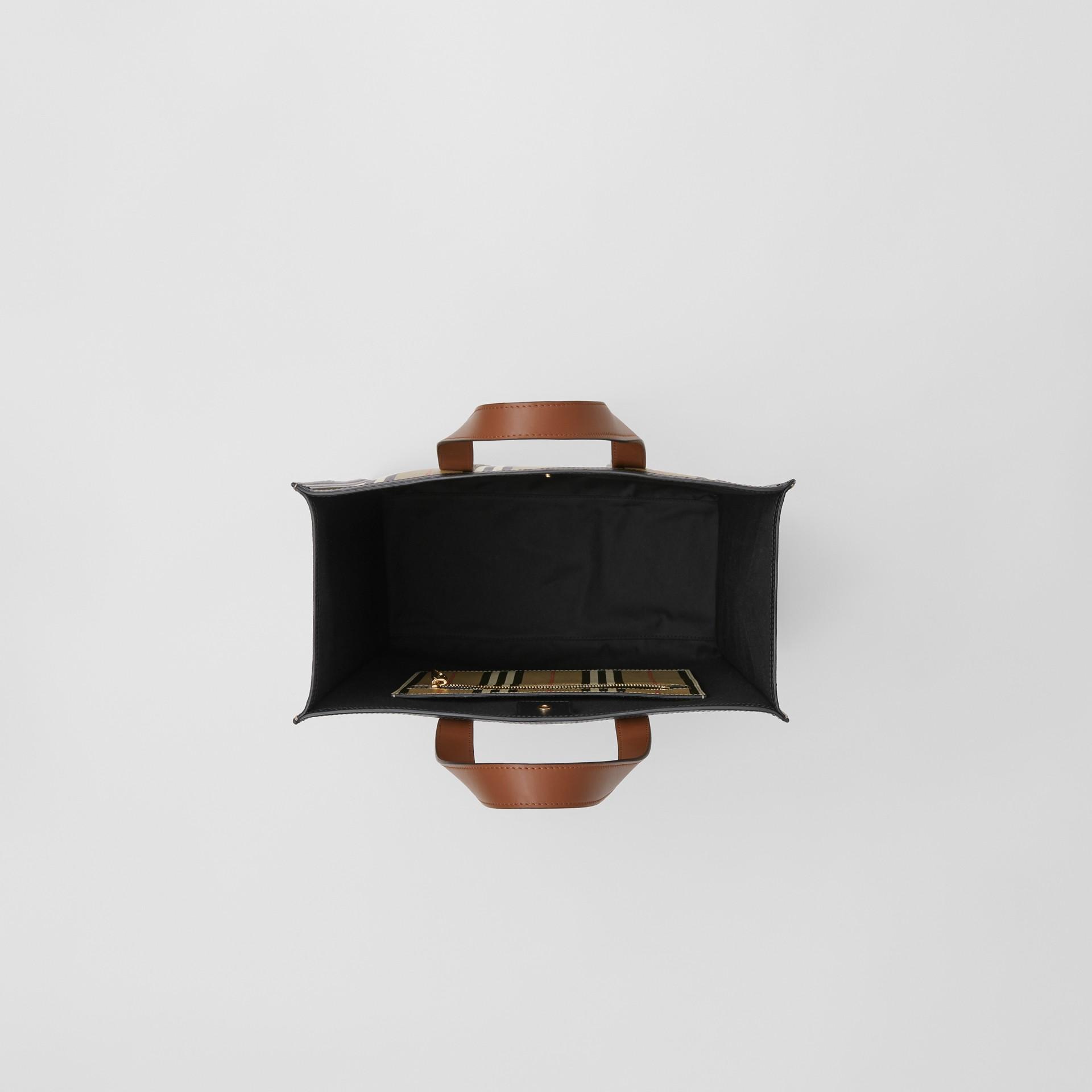 Logo and Stripe E-canvas Portrait Tote Bag in Tan/archive Beige - Women | Burberry - gallery image 4