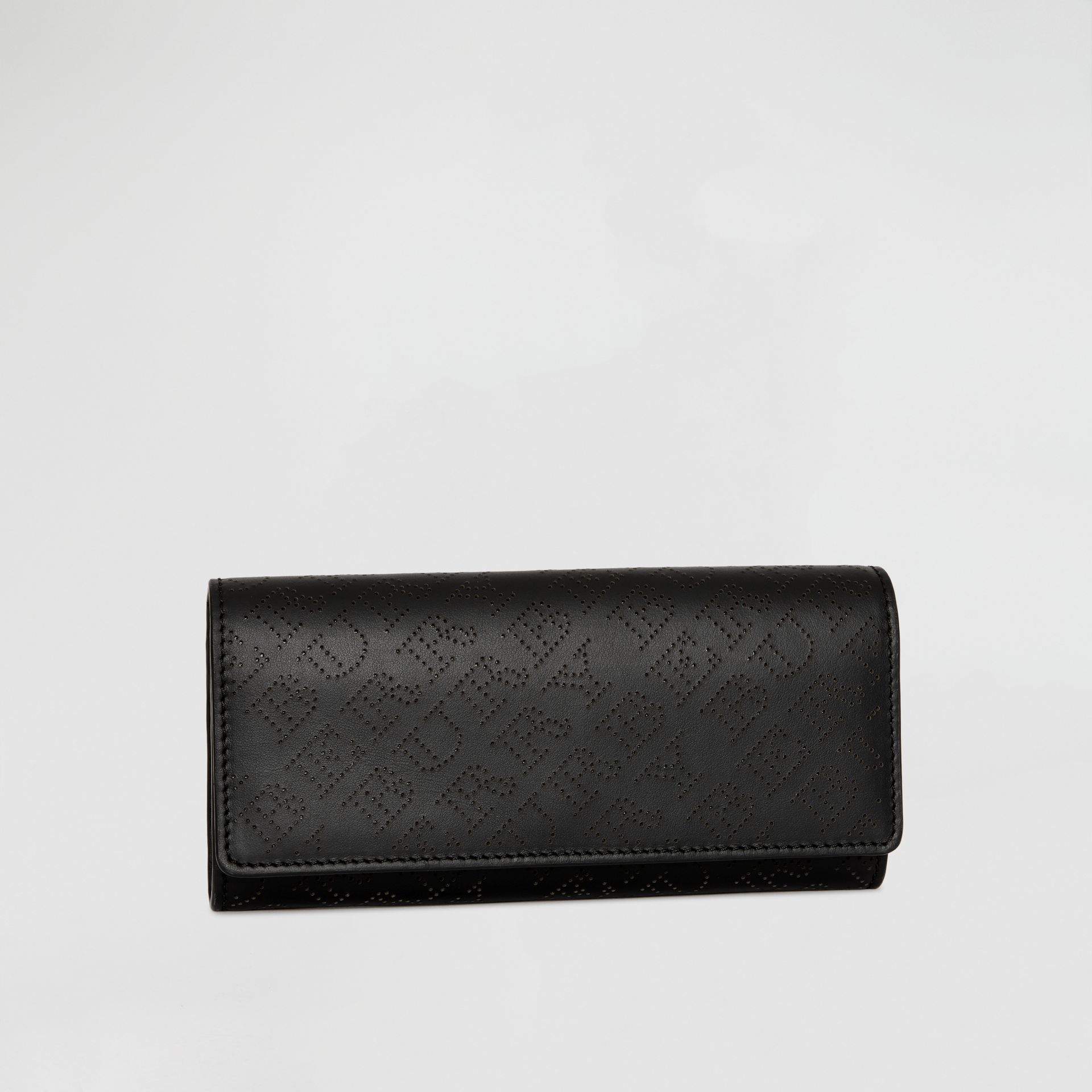 Perforated Logo Leather Continental Wallet in Black - Women | Burberry - gallery image 4