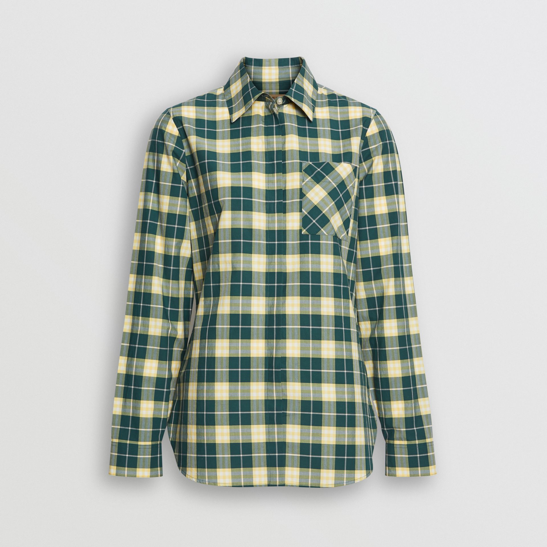 Check Cotton Shirt in Dark Cedar Green - Women | Burberry - gallery image 3