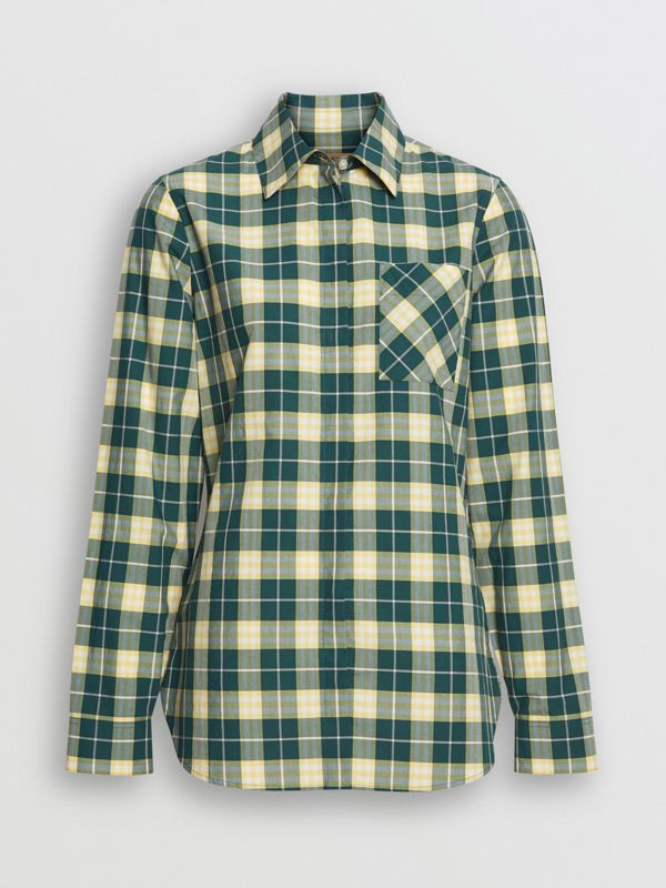 Check Cotton Shirt in Dark Cedar Green - Women | Burberry - cell image 3