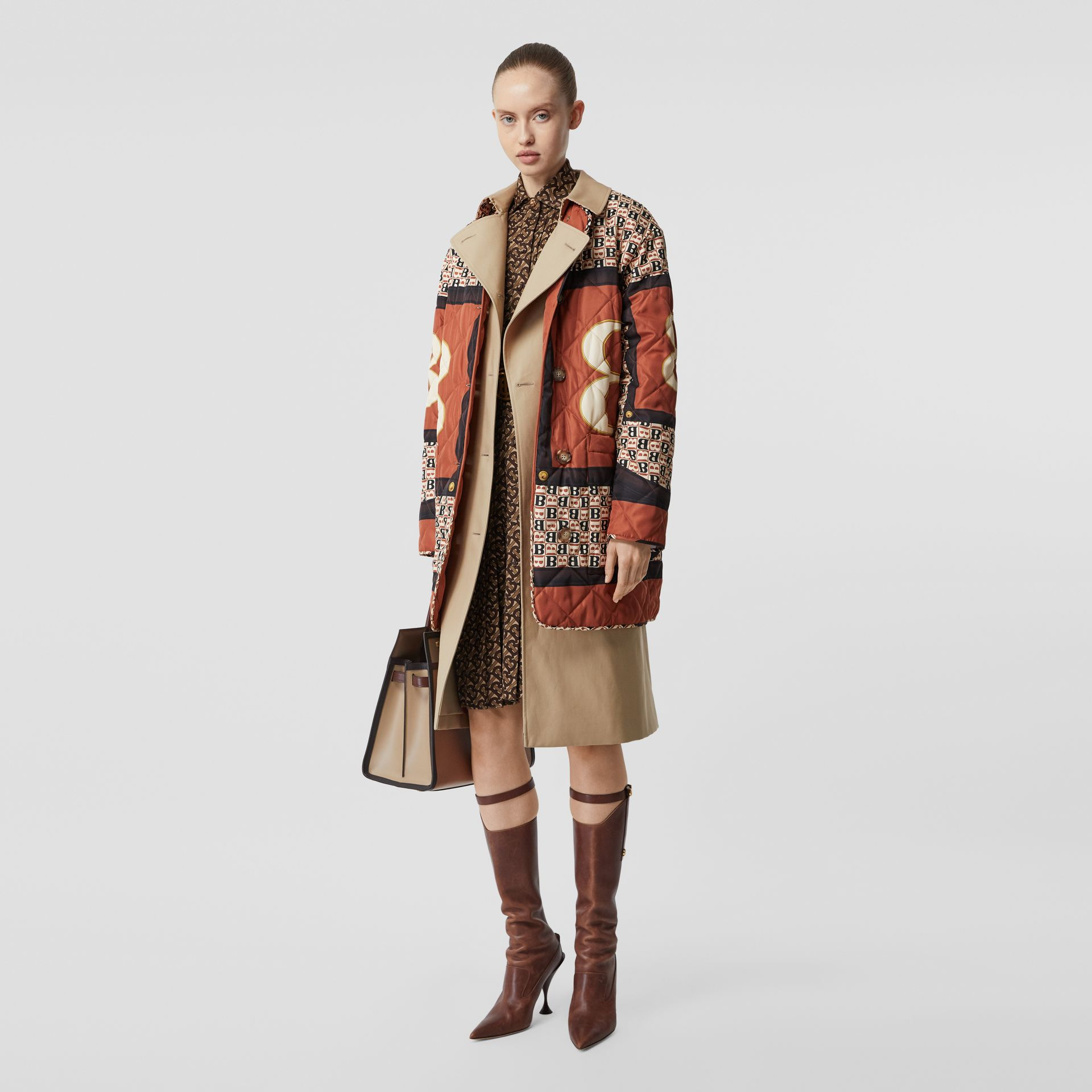Archive Print-lined Cotton Gabardine Trench Coat in Honey - Women | Burberry Australia - gallery image 6