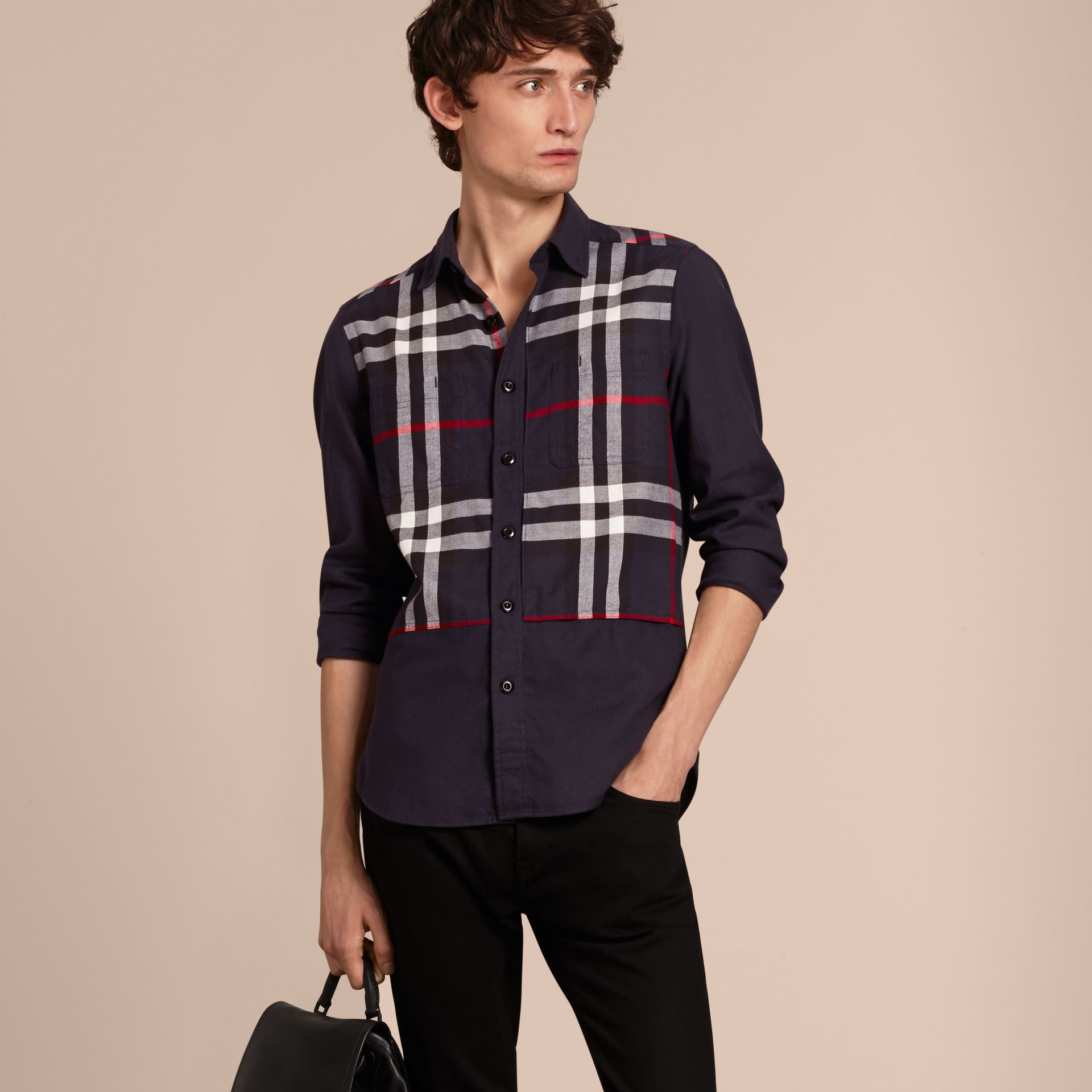 Navy Check Detail Cotton Flannel Shirt Navy - gallery image 6