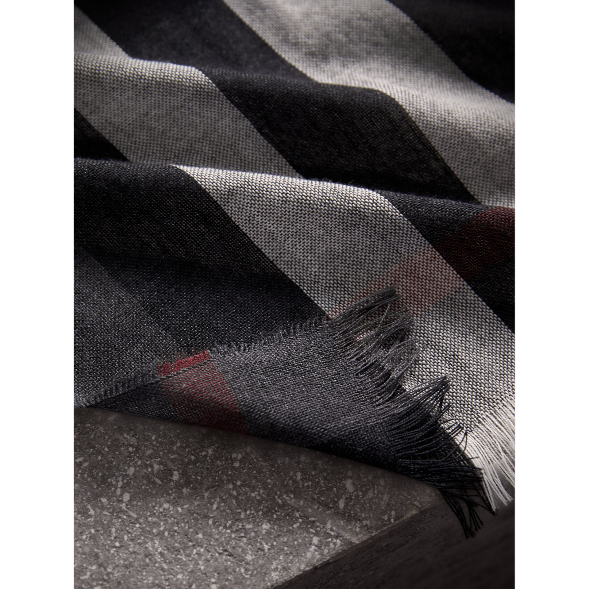 Lightweight Check Wool Cashmere Scarf in Charcoal | Burberry - gallery image 2