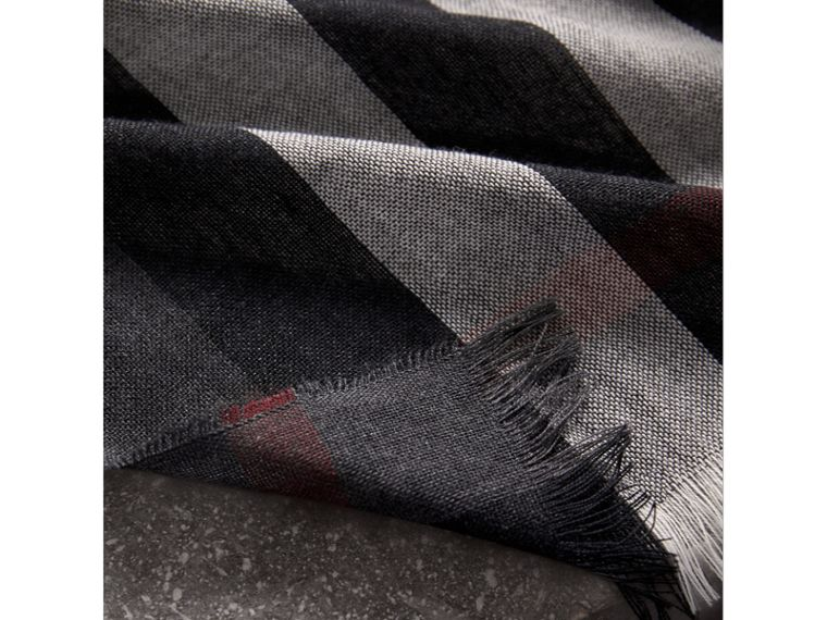 Lightweight Check Wool Cashmere Scarf in Charcoal | Burberry United Kingdom - cell image 1