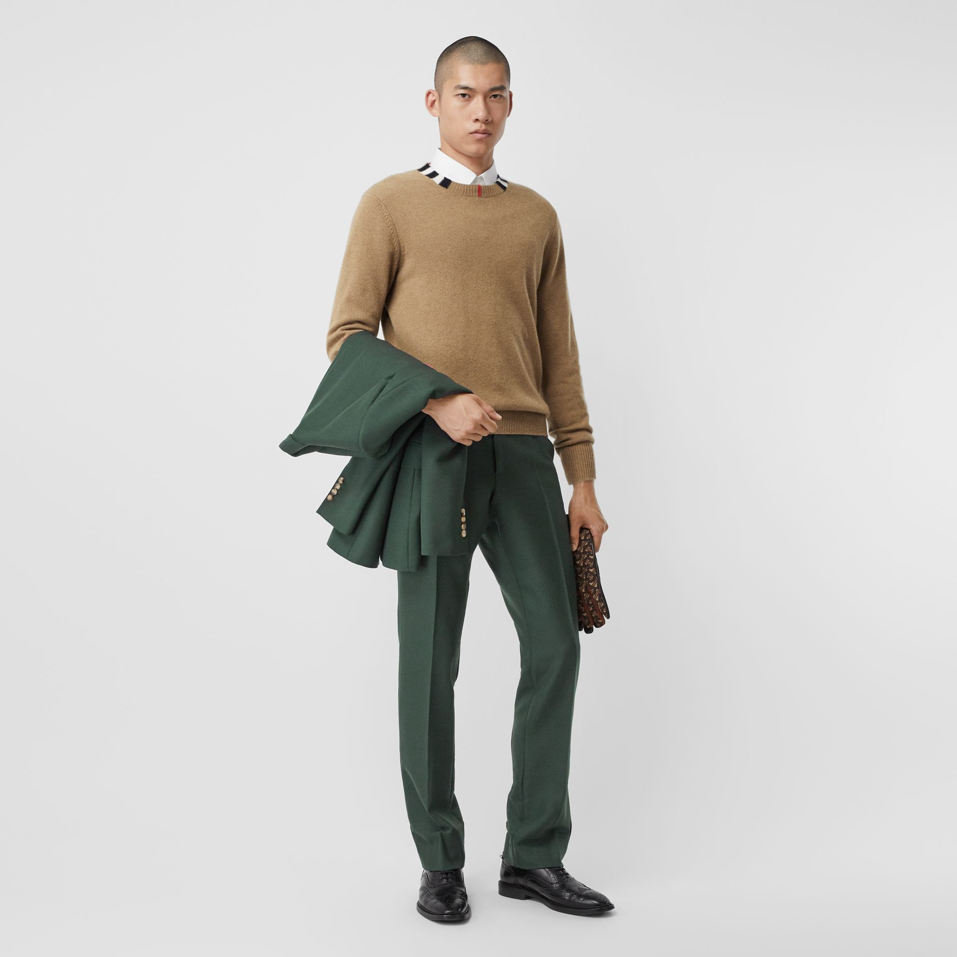 Icon Stripe Trim Cashmere Sweater in Camel - Men | Burberry - gallery image 5
