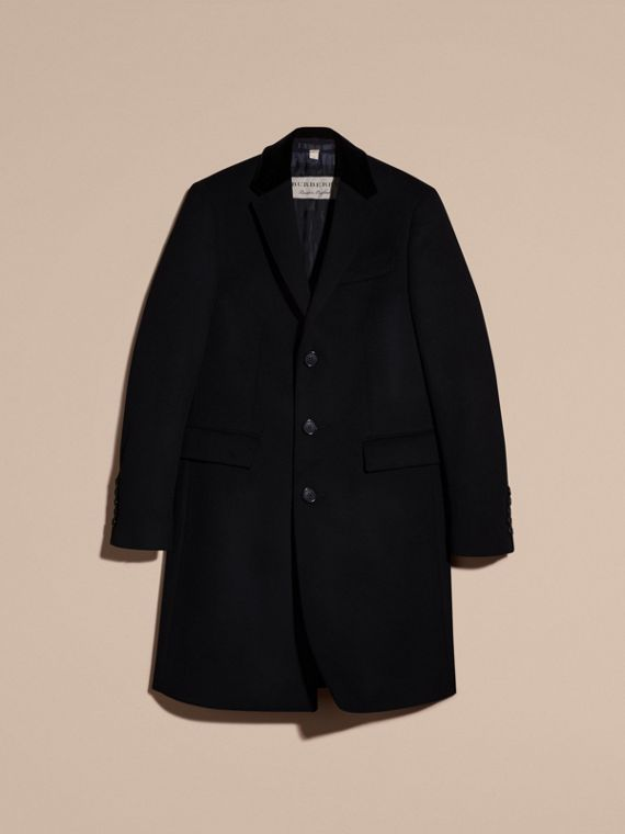 Black Velvet Collar Wool Cashmere Coat - cell image 3
