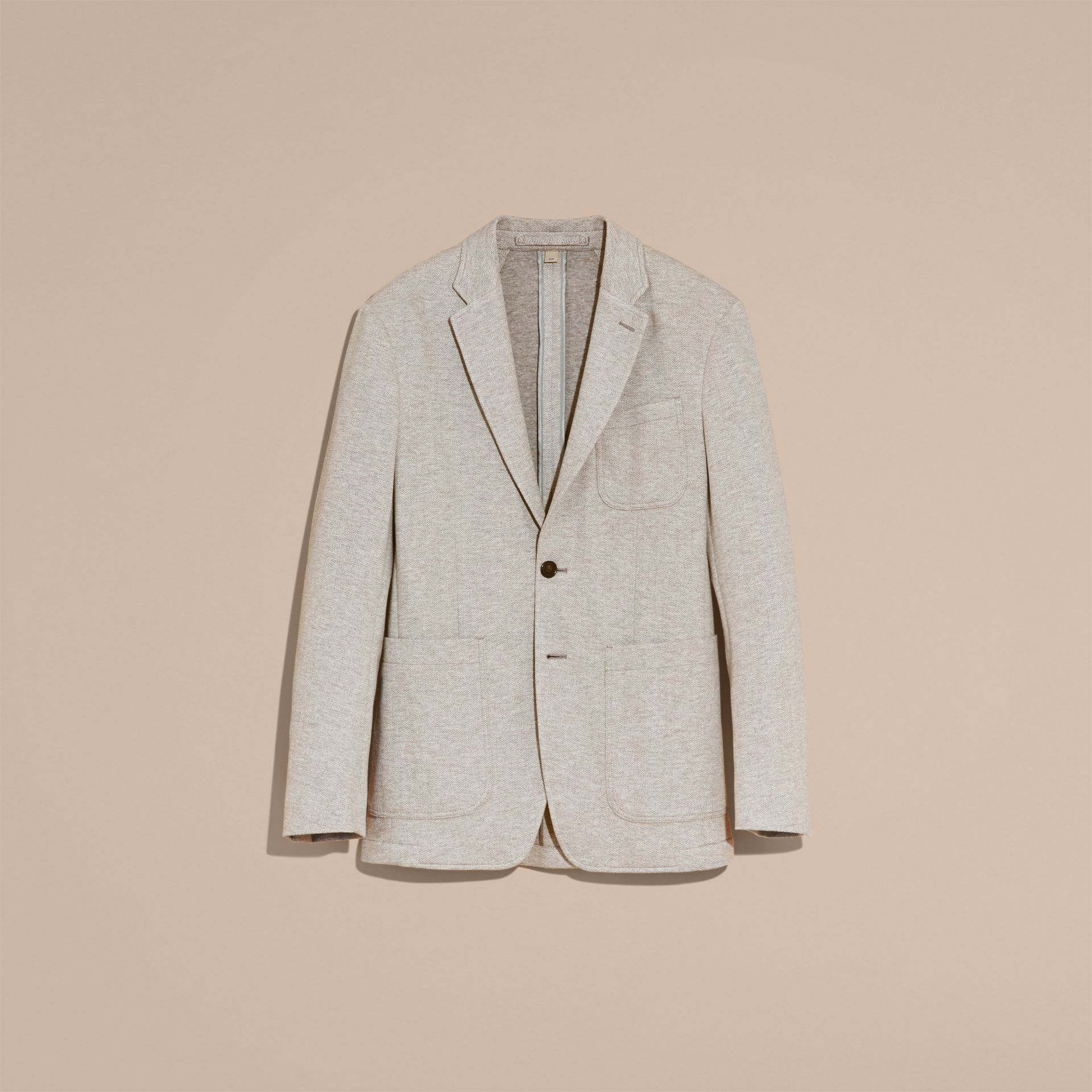 Herringbone Cotton Blend Jersey Blazer - gallery image 4