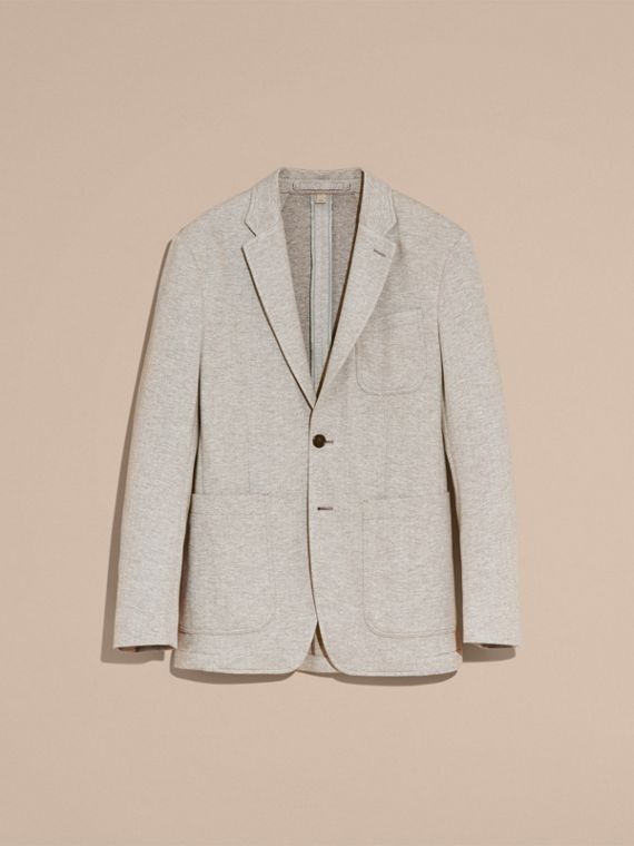 Herringbone Cotton Blend Jersey Blazer - cell image 3