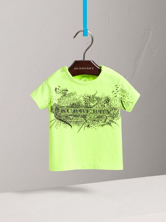 Doodle Print Cotton Jersey T-shirt in Bright Lemon | Burberry United States - cell image 2