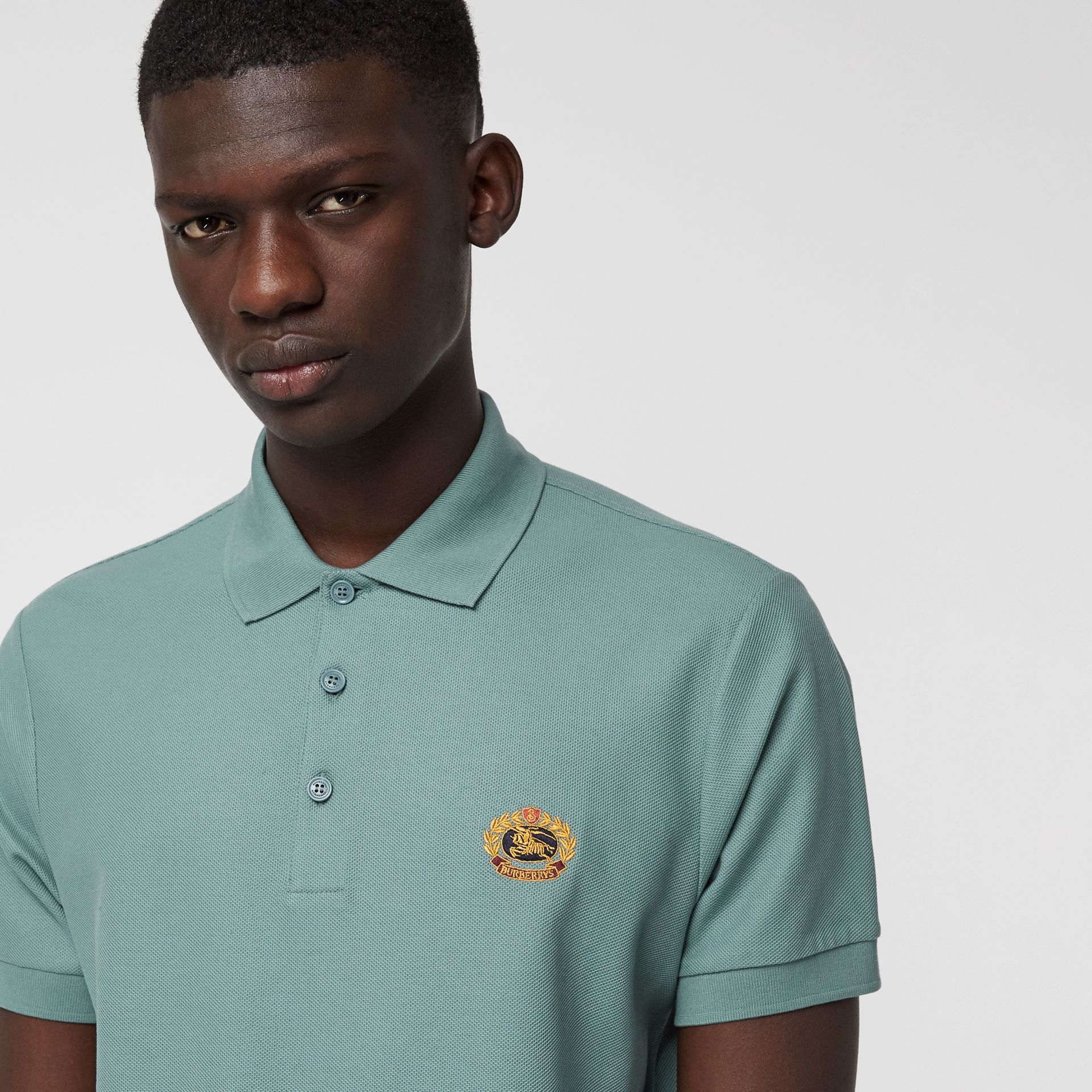 Archive Logo Cotton Piqué Polo Shirt in Dusty Teal - Men | Burberry Canada - gallery image 1