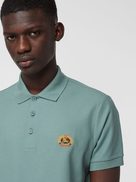 Archive Logo Cotton Piqué Polo Shirt in Dusty Teal - Men | Burberry United Kingdom - cell image 1