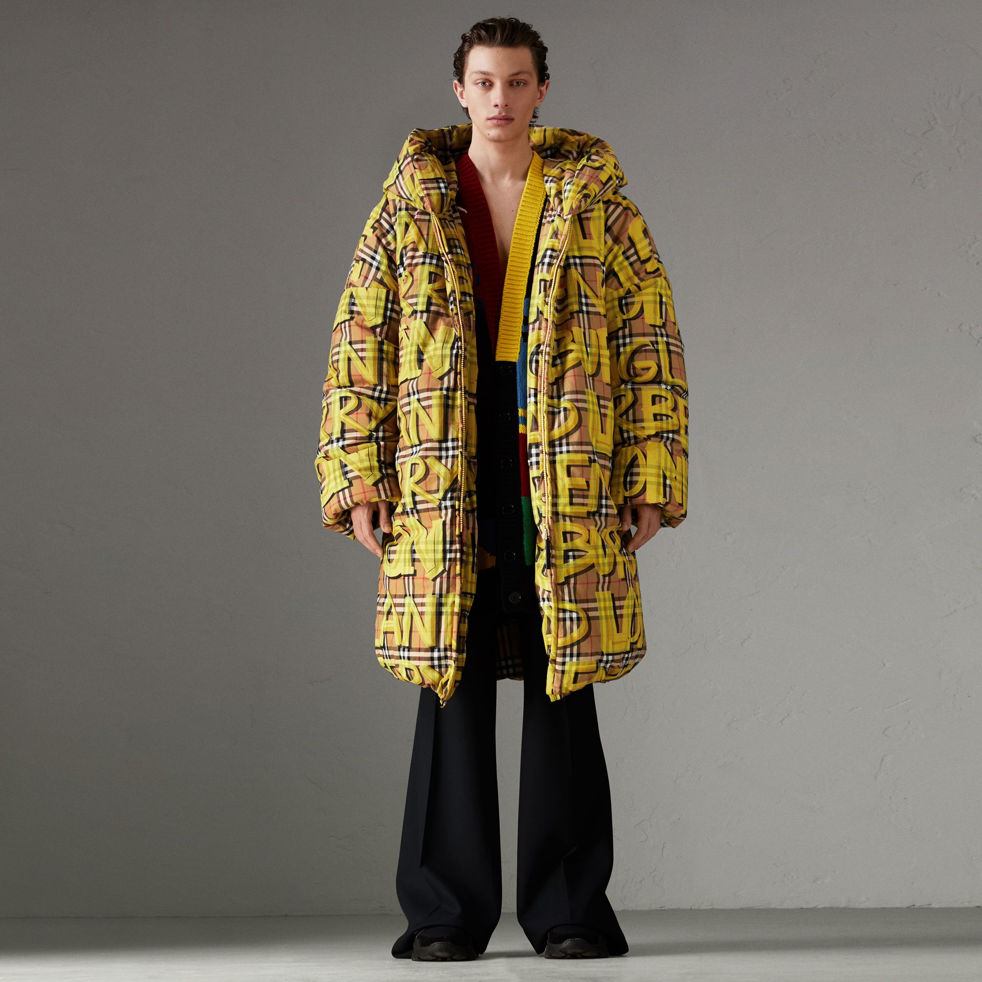 Graffiti Vintage Check Down-filled Puffer Coat in Bright Yellow | Burberry Australia - gallery image 0