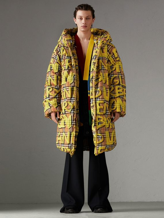Graffiti Vintage Check Down-filled Puffer Coat in Bright Yellow
