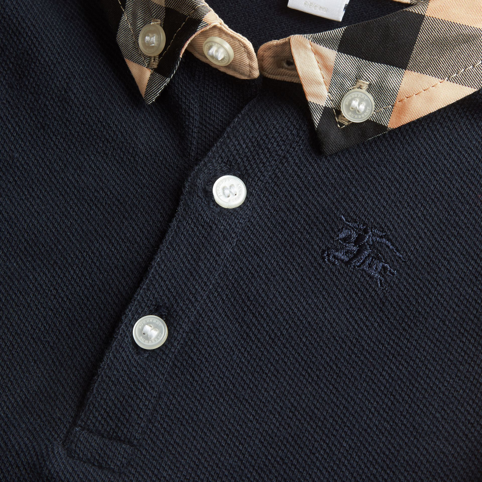 Check Collar Cotton Polo Shirt in True Navy | Burberry - gallery image 2