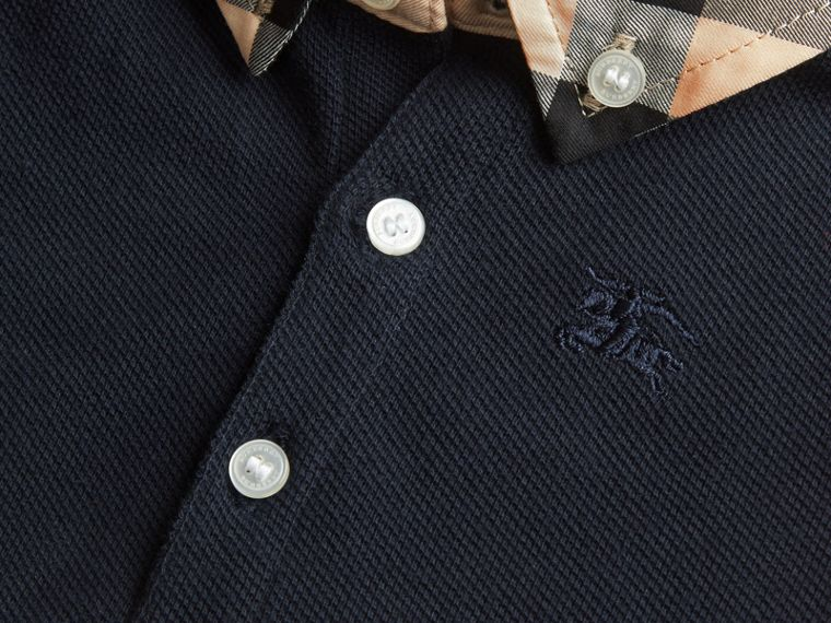 Check Collar Cotton Polo Shirt in True Navy | Burberry Canada - cell image 1