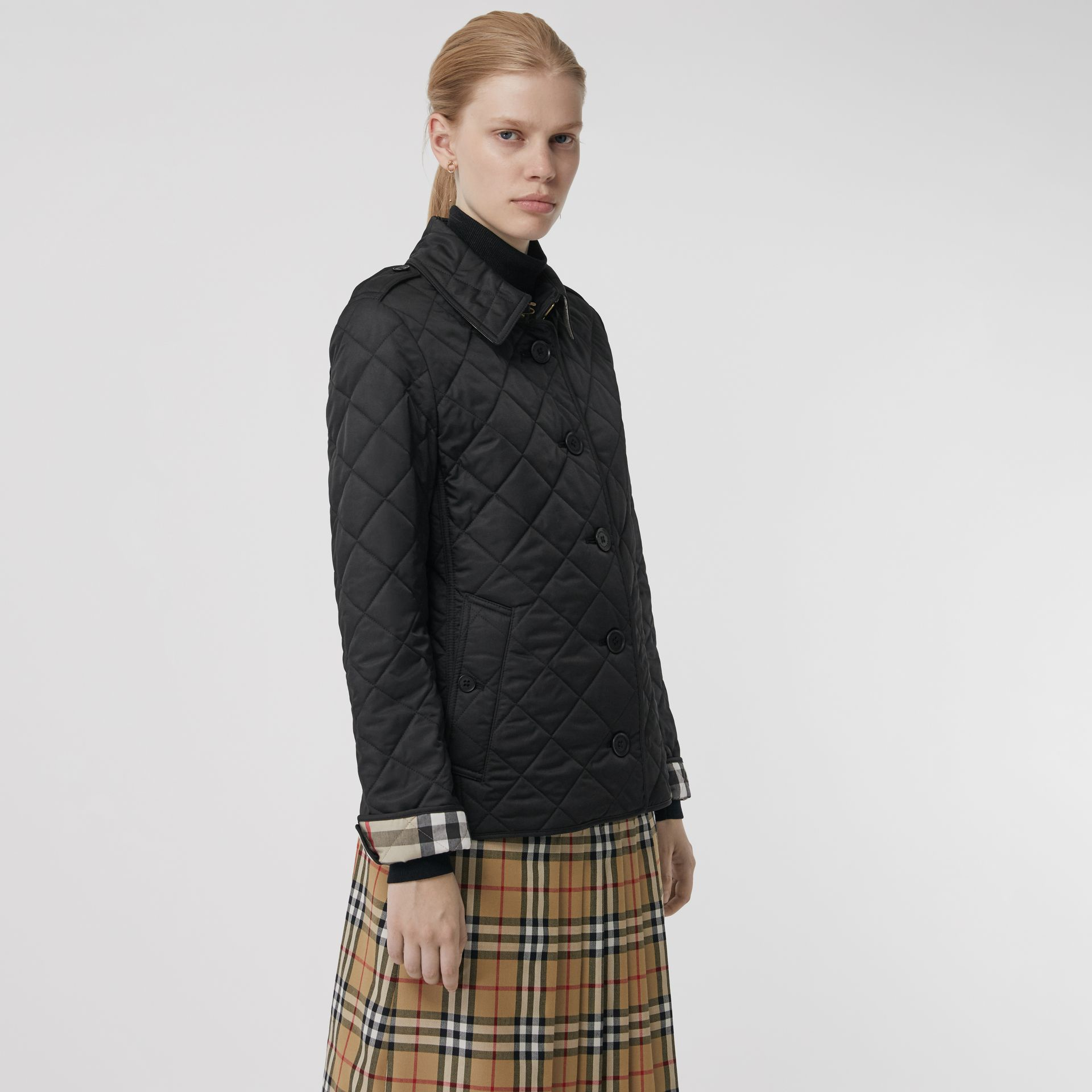Diamond Quilted Jacket in Black - Women | Burberry Canada - gallery image 5