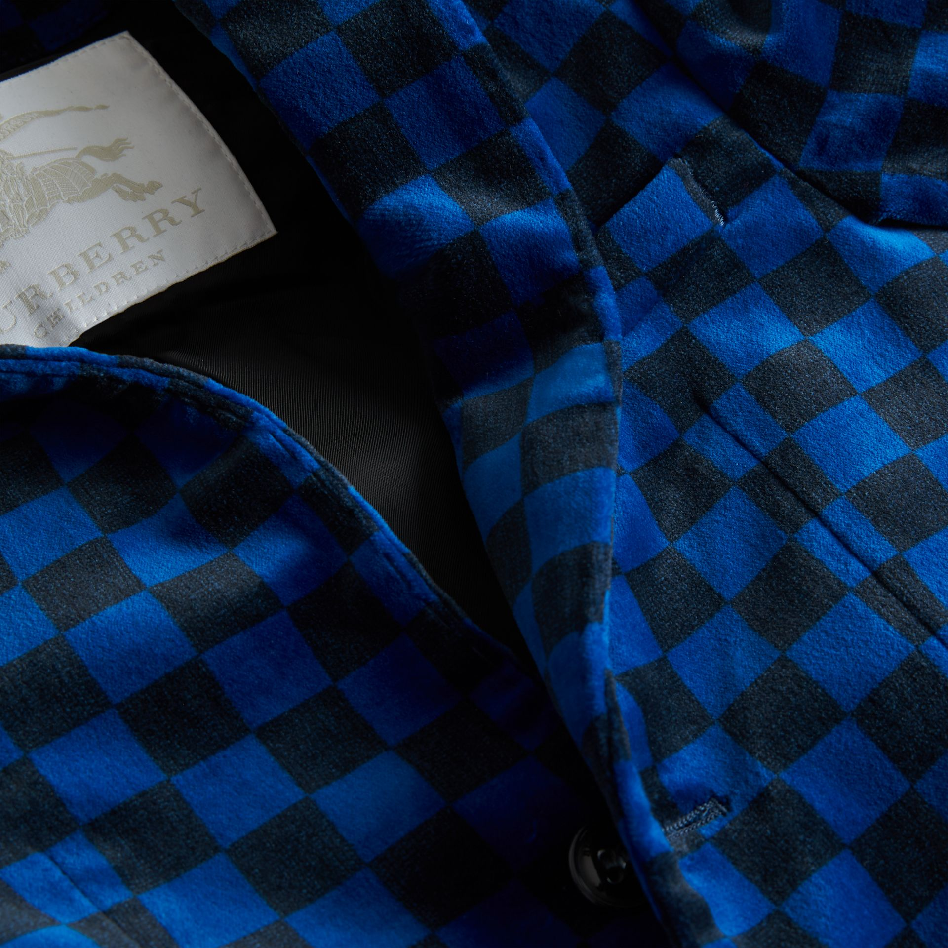 Chequer Stretch Velvet Jacket in Bright Blue | Burberry - gallery image 1