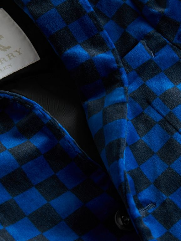 Chequer Stretch Velvet Jacket in Bright Blue | Burberry - cell image 1