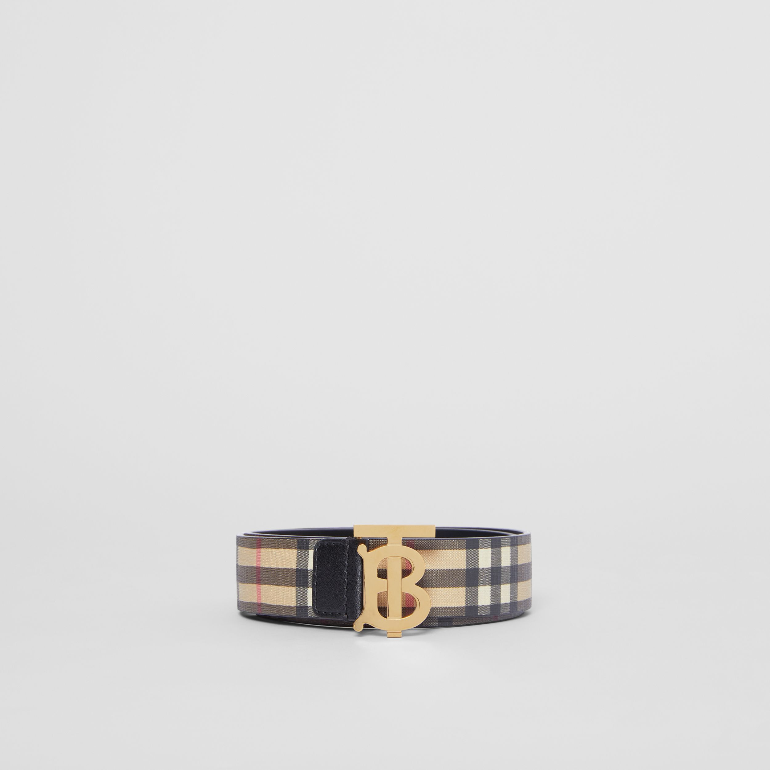 Monogram Motif Vintage Check E-canvas Belt in Archive Beige - Women | Burberry United States - 4