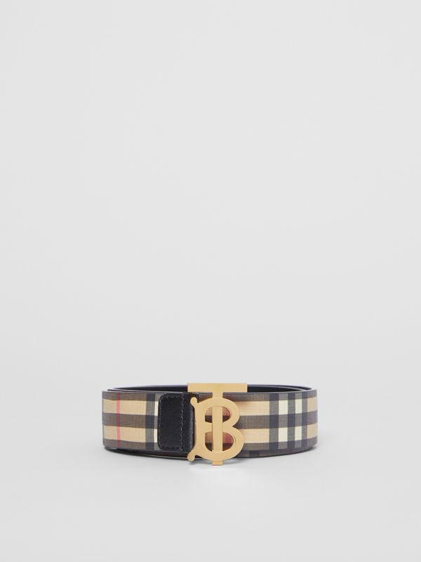 Monogram Motif Vintage Check E-canvas Belt in Archive Beige - Women | Burberry - cell image 3