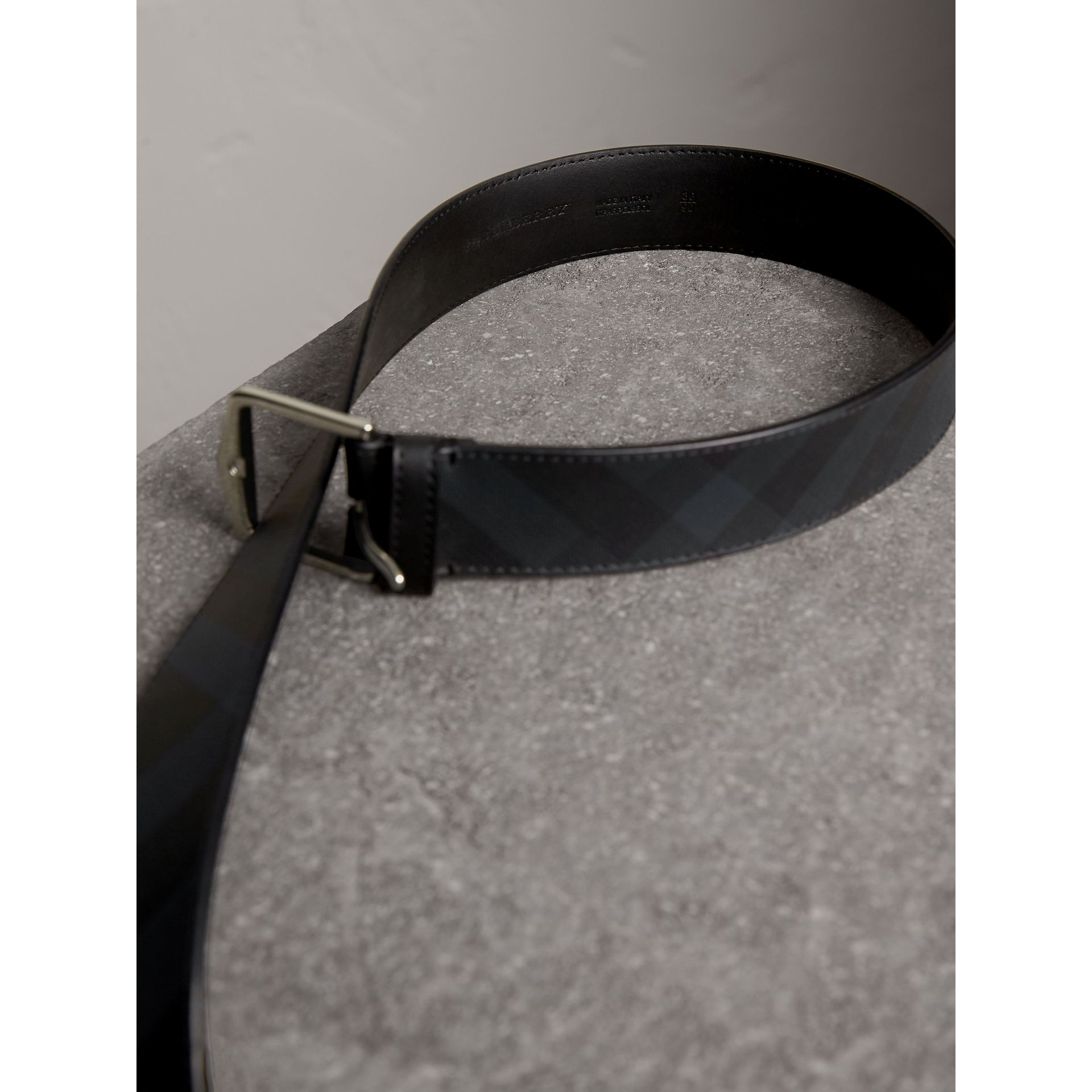 Leather Trim London Check Belt in Charcoal/black - Men | Burberry - gallery image 3