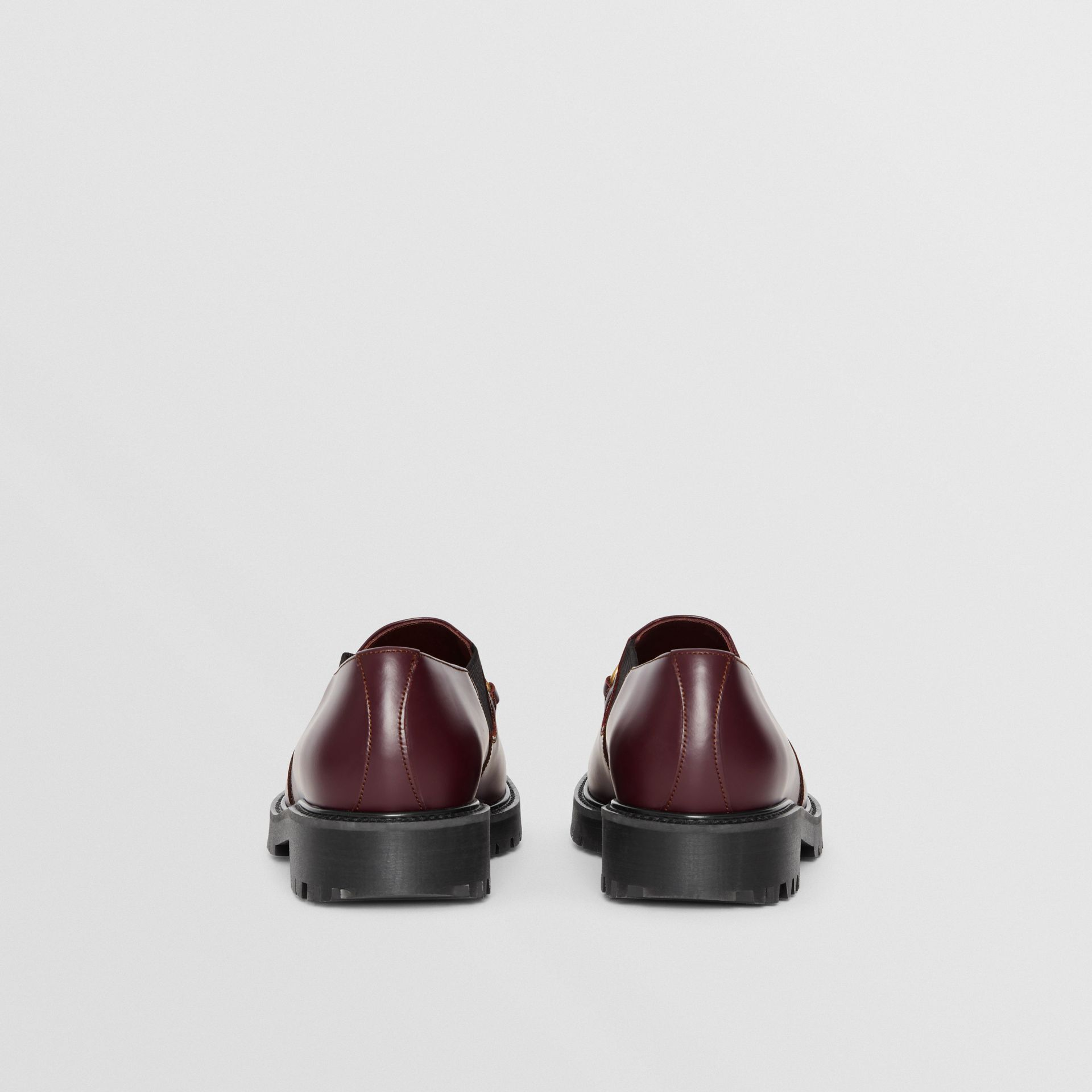 Link Detail Leather Shoe in Oxblood - Men | Burberry United Kingdom - gallery image 3