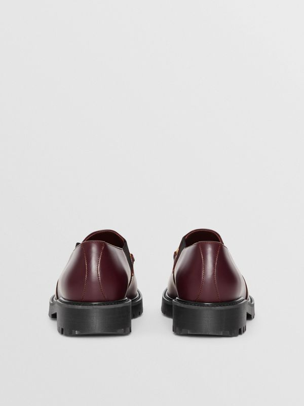 Link Detail Leather Shoe in Oxblood - Men | Burberry - cell image 3
