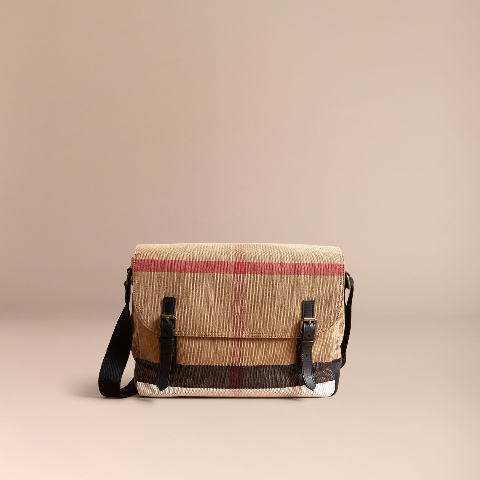 Large Leather Trim Canvas Check Messenger Bag in Black - Men | Burberry - gallery image 6