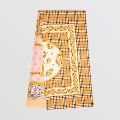Archive Scarf Print Silk Puffer Scarf in Multicolour