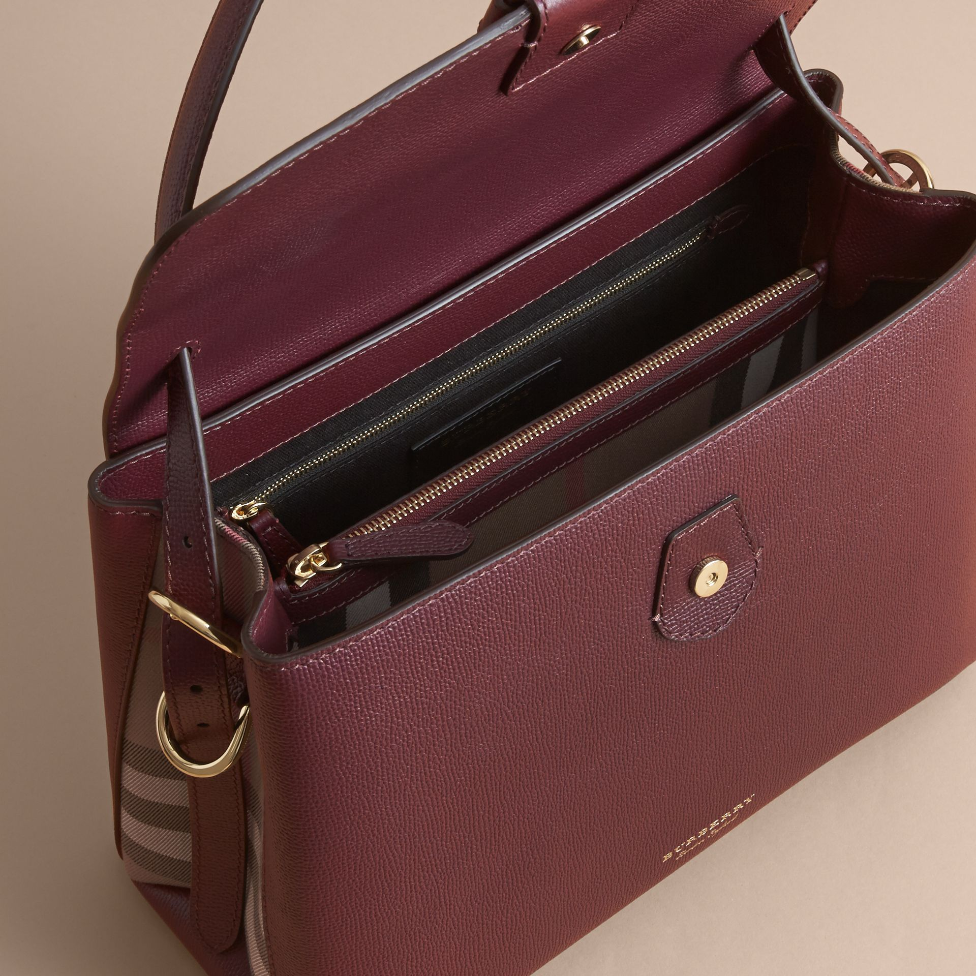 Medium Grainy Leather and House Check Tote Bag in Mahogany Red - Women | Burberry - gallery image 5