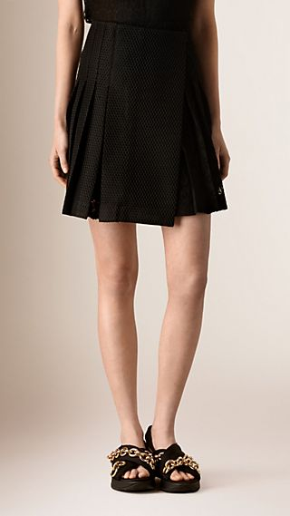 Pleated English Lace Wrap-over Mini Skirt