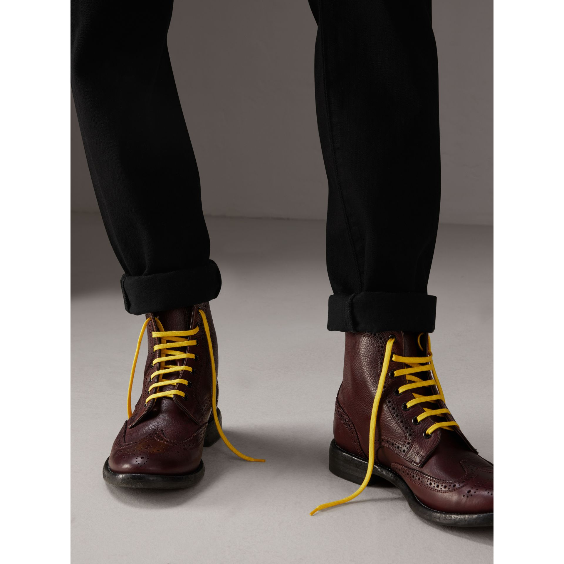 Leather Brogue Boots with Bright Laces in Cerise Purple - Men | Burberry Australia - gallery image 2