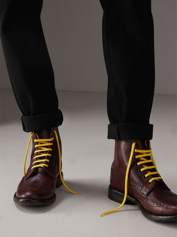 Leather Brogue Boots with Bright Laces in Cerise Purple - Men | Burberry - cell image 2