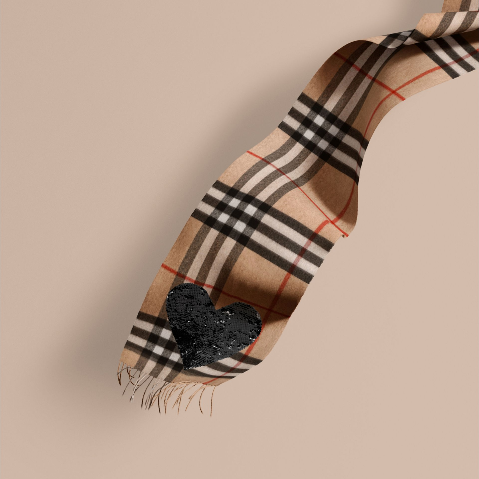 Camel/black The Classic Cashmere Scarf in Check with Sequined Heart Camel/black - gallery image 1