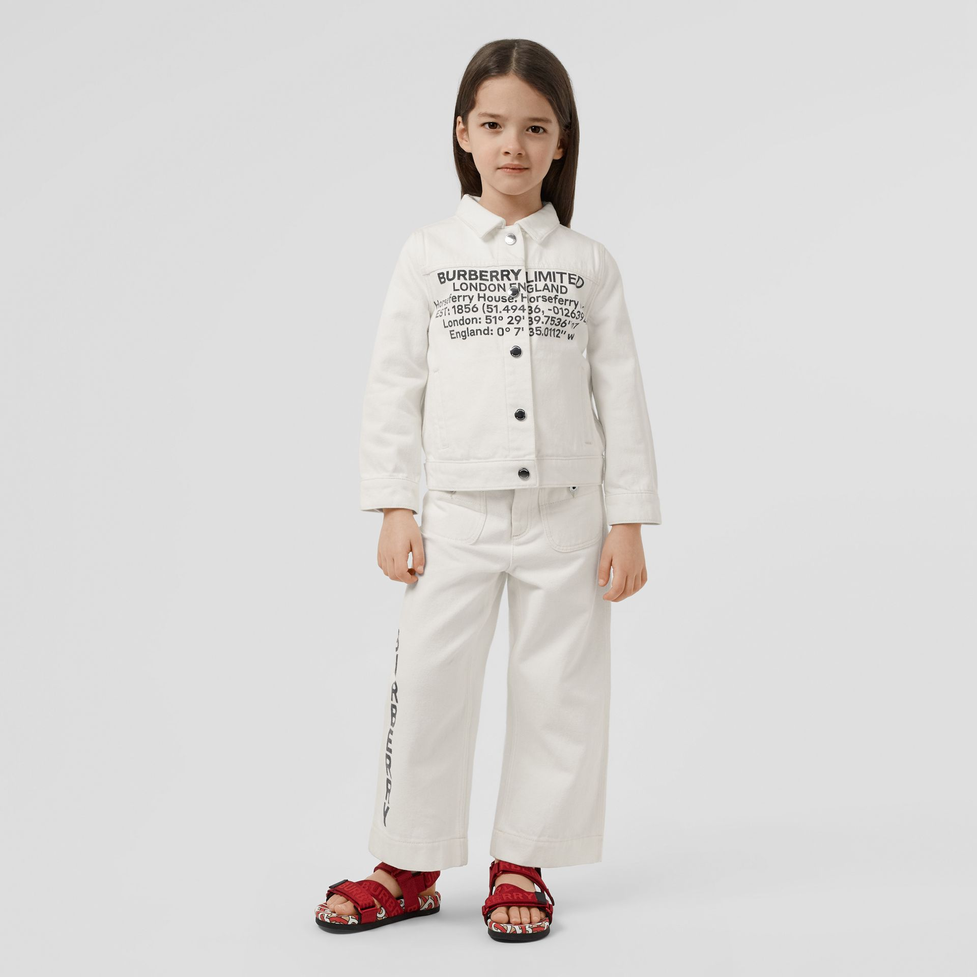 Location Print Japanese Denim Jacket in Natural White | Burberry United Kingdom - gallery image 2