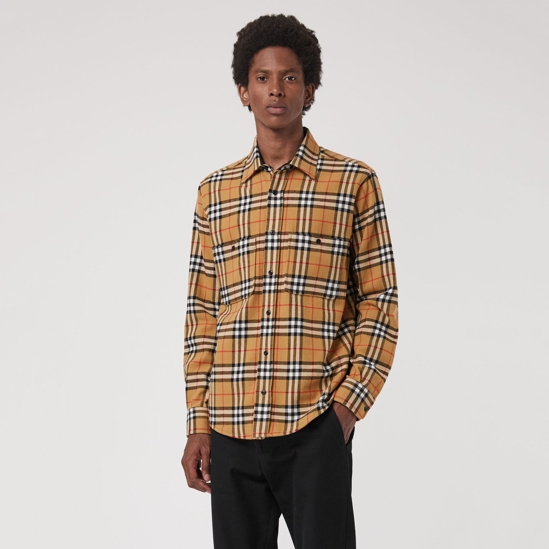 Vintage Check Cotton Flannel Shirt in Antique Yellow - Men | Burberry Australia - gallery image 0