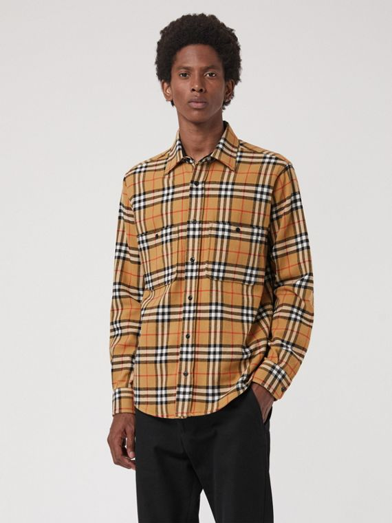 Vintage Check Cotton Flannel Shirt in Antique Yellow