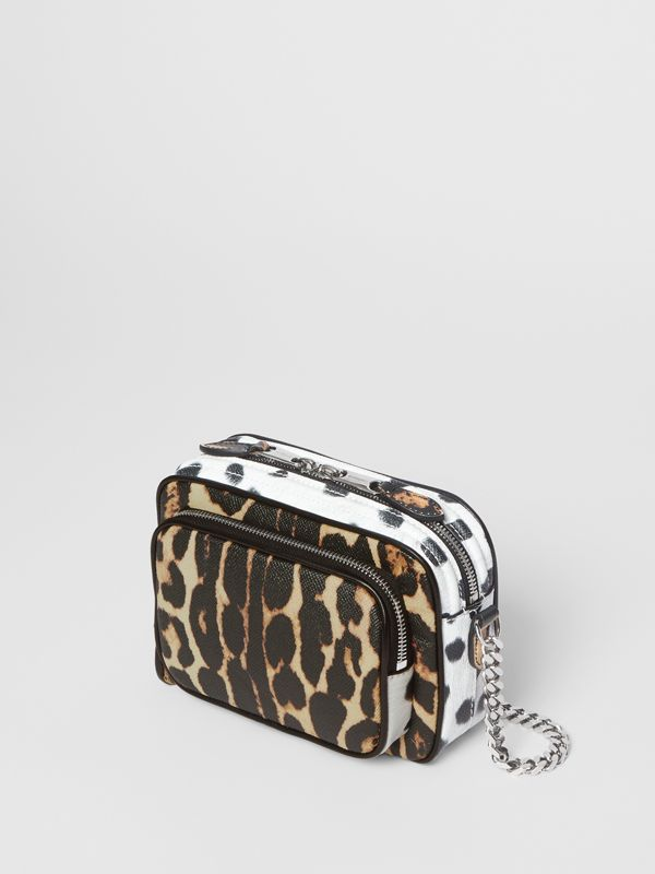 Animal Print Leather Camera Bag in Honey/black - Women | Burberry - cell image 3