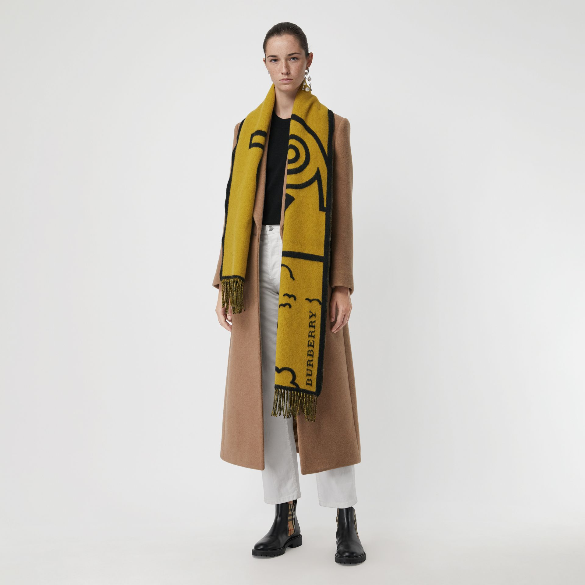 London Street Art Wool Cashmere Jacquard Scarf in Larch Yellow | Burberry Hong Kong - gallery image 2