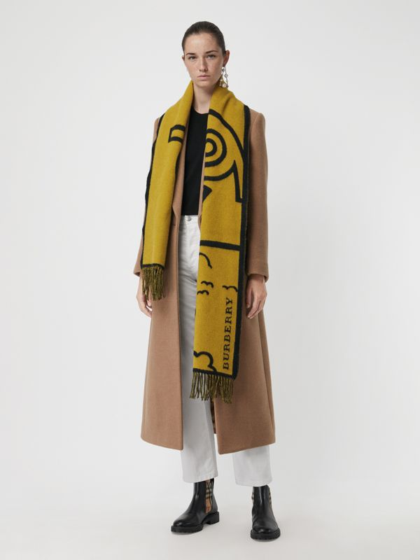 London Street Art Wool Cashmere Jacquard Scarf in Larch Yellow | Burberry - cell image 2
