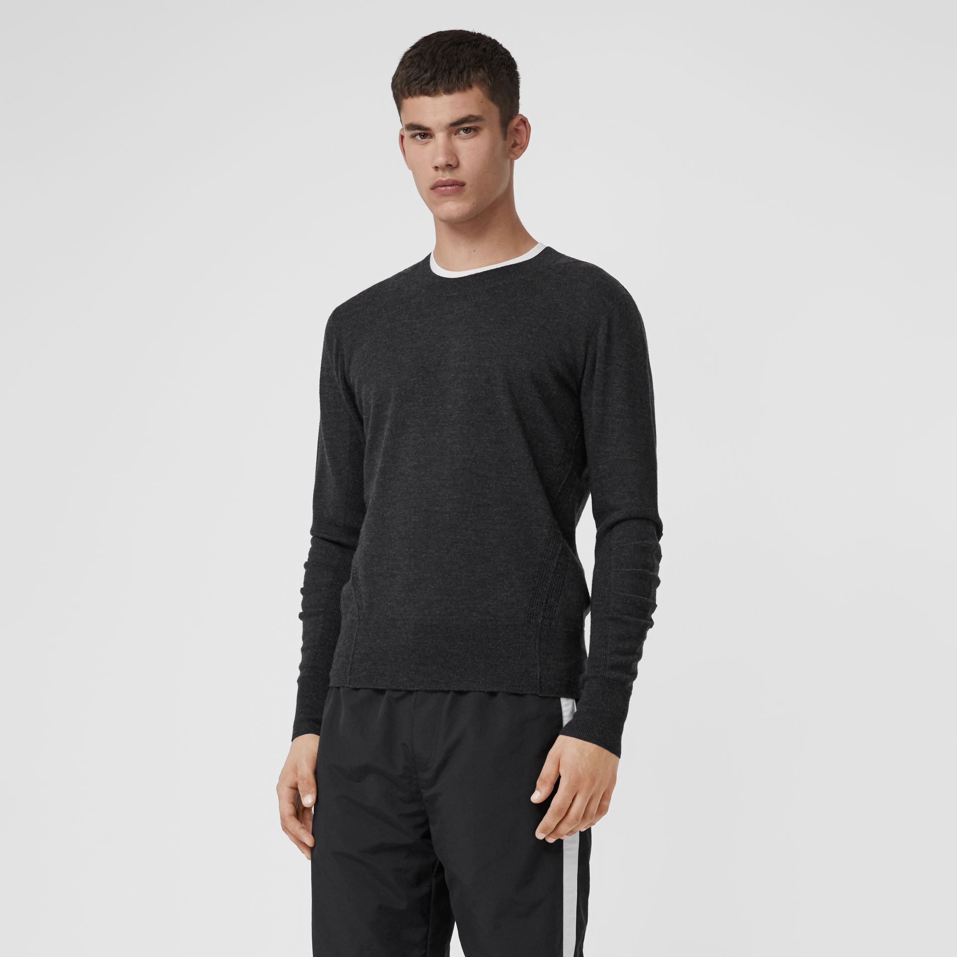 Check Detail Merino Wool Sweater in Charcoal - Men | Burberry - gallery image 0